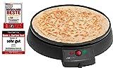 Clatronic CM 3372 Máquina de hacer crepes, tortitas, tortillas, plato 29 cm antiadherente, termostato regulable, 900 W,...