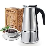 Godmorn Cafetera Italiana,Cafetera espressos en Acero inoxidable430,4tazas(Nota:1 Taza es 50ml),Conveniente para la...