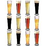 RB Vasos de Cerveza Pilsner Nucleados Plástico Premium Irrompible Reutilizable 25cl, Set de 12