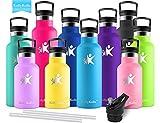 KollyKolla Botella de Agua Acero Inoxidable, Termo Sin BPA Ecológica Reutilizable, Botella Termica con Pajita y Filtro,...