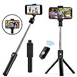 Naohiro Palo Selfie Trípode,mini 3 en 1 palo selfie,selfie stick expandible, con control remoto Bluetooth, adecuado...