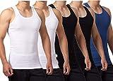FALARY Camiseta de Tirantes para Hombre Pack de 5 de Algodón 100% más Colores Negro Blanco Azul Marino M