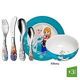 WMF Disney Frozen - Vajilla para niños 6 piezas, incluye plato, cuenco y cubertería (tenedor, cuchillo de mesa,...