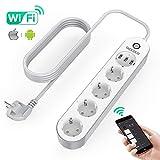 TAOCOCO Regleta inteligente, Smart Power Strip con 4 zócalos y 3 USB, Admite control por voz/Control...