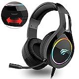 Auriculares Gaming PS4 HAVIT Iluminación RGB Cascos Gaming sonido envolvente, controlador de 50MM y micrófono con...
