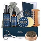 Y.F.M Kit de Cuidado de Barba para Hombres 8 en 1, Cuidado Barba - Champú, Aceite, Bálsamo de Barba, Peine,...