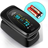SIMBR Oxímetro de Dedo con Pantalla LCD Pulsioxímetro de Pulso para Medición de SpO2 con Alarma y 4 Direcciones...