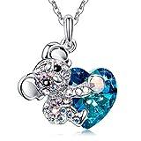 MEGA CREATIVE JEWELRY Collar para Mujer con Cristales Swarovski Corazón Azul Koala