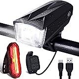 OMERIL Luces Bicicleta Delantera y Trasera Linterna Bicicleta Recargable, IP65 Resistente con 6 Modes, Bocina y Luz para...