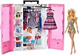 Barbie Fashionista Armario portable con muñeca incluida, ropa, complementos y accesorios de muñecas, regalo para...