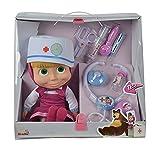 Muñeca de 30cm de Masha y el Oso con maletín médico y accesorios con sonido (Simba 9306542)