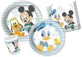 Ciao Y4213–Juego de Mesa Baby Mickey & Donald para 24Personas, Color Celeste y Blanco.
