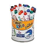 BIC Kids Mini Velleda - Rotuladores Pizarra Blanca Punta Fina, Pote de 24 unidades, Colores Surtidos