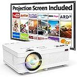 Proyector QKK AK-81 con Pantalla Proyección, 5000 Lumens Proyector Video Soporta 1080P HD, Proyector Nativo 720P...