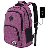 YAMTION Mochila Portatil 6 Colores con USB Puerto para Escolar Negocio- 35L (15.6 Pulgada, B6-púrpura1)