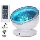 Lámpara Proyector LED,Luz de Noche y Océano +Control Remoto+Temporizador,8 Modo Color+6 Sonidos Musical+45 Grado...
