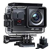 Victure AC800 Cámara Deportiva Wi-Fi 4K Ultra HD 20MP (Action Camera Acuatica de 40M con 2 Baterías y Cargador...
