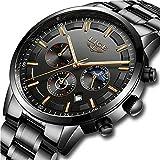 LIGE Relojes Hombre Impermeable Deporte Cuarzo Analógico Reloj Hombre Moda Casual Cronógrafo Negro Acero Inoxidable...