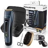 Rowenta Kit cuidado barba Signature TN4500, Cortapelos y barbero, cuchillas autoafilables revestimiento titanio, cepillo...