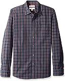 Marca Amazon – Goodthreads – Camisa de manga larga de popelín a cuadros de corte entallado para hombre, Azul (navy...