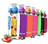 willceal Botella de Agua con Tapa para infusiones de Frutas, Resistente, con diseño a Prueba de Fugas, tamaño Grande,...