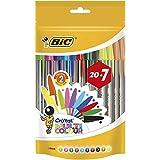 BIC Cristal Multicolour Bolígrafos Punta Ancha (1,6 mm) – Colores Surtidos, Bolsa de 20+7 Unidades, ideal para...