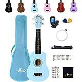 Winzz Ukelele Soprano Starter Kit para Principiante. Incluye: Funda, Afinador, Cuerdas Extra, Correa Ajustable, Púas,...