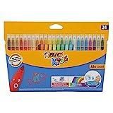 BIC Kids Kid Couleur Rotuladores Punta Media Ultralavables - Colores Surtidos, Caja de 24 Unidades