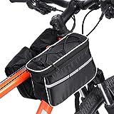 4-en-1 Bolso de Múltifunciones de Bicicleta Bolsa de Tubo Bici con Banda Reflectante y Cubierta de Lluvia ( Color :...