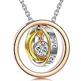 Kami Idea Collar - SIEMPRE - Colgante de oro Rosa, Regalo para mamá y Amor, Cristal de Swarovski, Embalaje de Regalo...