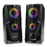 ARCHEER Altavoces PC, Altavoz 2.0 USB Gaming Altavoz PC RGB 2 * 5W Sonido Estéreo de Doble Canal Multimedia con LED...