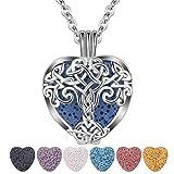 CELESTIA Collar de Difusor de Aceite Esencial para Mujer, Colgante Plateado de árbol de la Vida, 7 Piedras de Lava,...