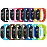 Monuary 15 Piezas Correa para Xiaomi Mi Smart Band 4 / Mi Band 3 Pulsera, Silicona Reloj de Recambio Brazalete Coloridos...
