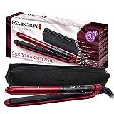 Remington S9600 Silk - Plancha de Pelo, Cerámica, Digital, Placas Flotantes Extralargas, Rojo, Resultados...