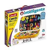 Quercetti-Quercetti-5285 Combi ABC / 123-Pizarra de Letras y números magnéticos, Juegos educativos (5285)