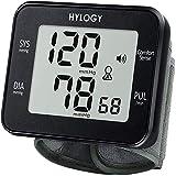 Tensiómetro de Muñeca, HYLOGY Monitor de Presión Digital Portátil Ultraplano con Anuncio de Voz, Gran Pantalla LCD...