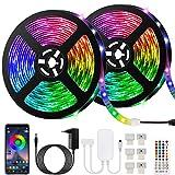 10M Bluetooth Tiras LED Musical 5050 RGB, Akapola Tiras de Luces LED Iluminación con 12V 300 LEDS, Función Musical,...